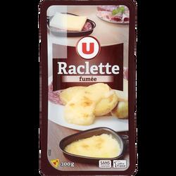 Fromage pour raclette au lait pasteurisé aromatisé fumé 28% de matièregrasse U, 300g