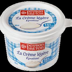 Crème fraîche allégée lait pasteurisé PAYSAN BRETON, 15% de MG, 50cl