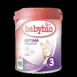 Lait en poudre pour nourrissons optima 3 BABYBIO, de 10 à 3 ans, 800g