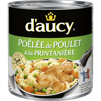 Poêlée de poulet à la printanière D'AUCY, boîte 1/2 de 290G