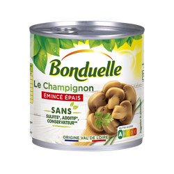 Champignons émincés gourmands 1er choix sans sulfite BONDUELLE 1/2230g