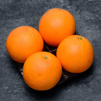 Orange Valencia, BIO, calibre 5/6, catégorie 2, Afrique du Sud, barquette 4 fruits