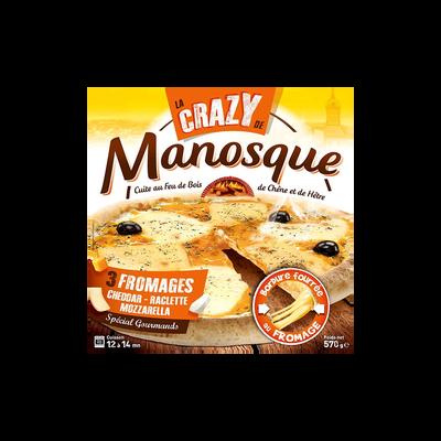 """Pizza 3 fromages """"crasy"""" LA PIZZA DE MANOSQUE, 570g"""