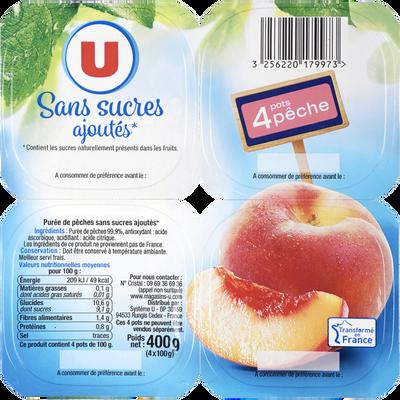 Coupelle sans sucres ajoutés purée de pêches U, 4 pots de 100g, 400g