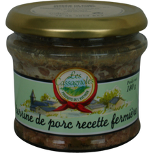 Terrine de porc recette fermière LES CASSAGNOLES, pot en verre 180g