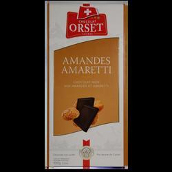 Tablette de chocolat noir amandes amaretti ORSET, 100g
