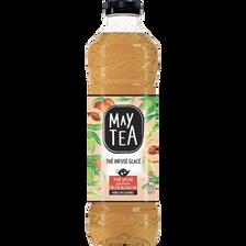 Thé infusé glacé saveur pêche blanche MAY TEA, bouteille de 1l