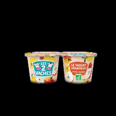 Yaourt brassé bio sucré pommes caramel LES 2 VACHES 2x115g