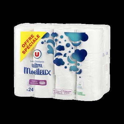Papier toilette 3 plis blanc U, x24
