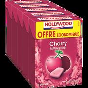 Hollywood Chewing-gum Sans Sucres Parfum Cerise Hollywood, 5x10 Dragées, 70g