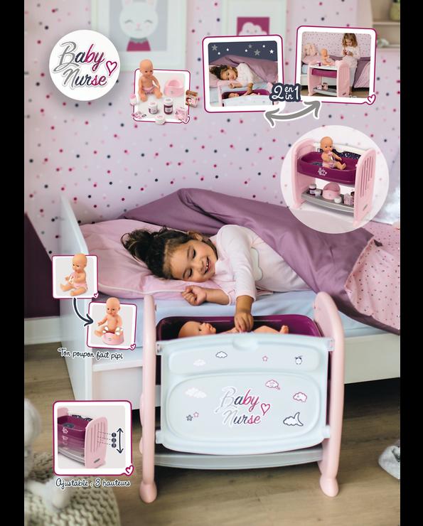 Co dodo Baby nurse SMOBY, avec poupon fonction pipi, produit 2 en 1:lit transformable en table à langer, cododo adaptable au lit del'enfant 3 positions 28/33/38cm