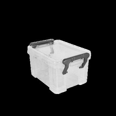 Boite de rangement, en polypropylène, 0,13l, blanc translucide, idéalepour ranger les accessoires de bureau