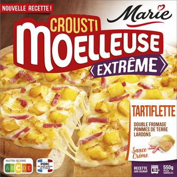 Nestlé Pizza Crousti Moëlleuse Extrème Tartiflette (double Fromage, Pomme Deterre, Lardons, Crème Fraîche) Marie, 550g