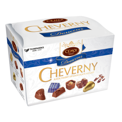 """Assortiment de chocolats au lait """"Cheverny Douceur"""" CEMOI, ballotin de210g"""