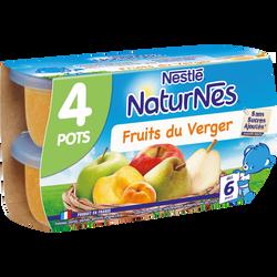 Compote fruits du verger NATURNES, dès 6 mois, 4x130g
