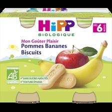 """Petit pot bio pommes bananes biscuits """"Goûter Plaisir"""" HIPP, dès 6 mois, 2x190g"""
