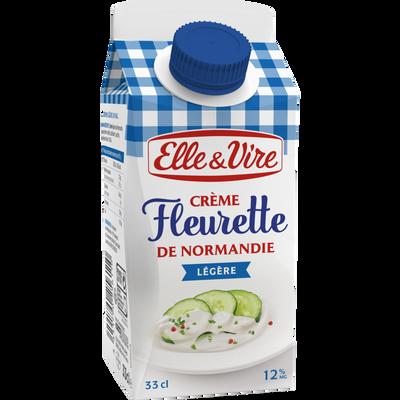 Crème fleurette légère 12% de matière grasse ELLE & VIRE, brique de 33cl
