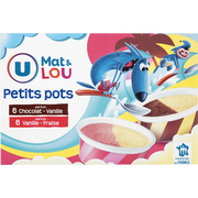 Lou Petits Pots Vanille Fraise & Vanille Chocolat U Mat & Lou, X12, 342g