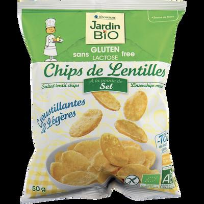 Chips de lentilles pointe de sel sans gluten JARDIN BIO, sachet de 50g