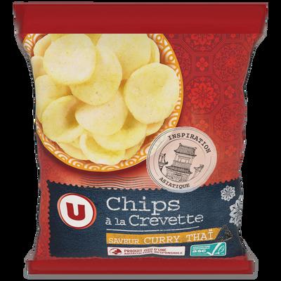 Chips aux crevettes saveur curry thaï U, sachet de 50g