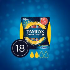 Tampon compak pearl régulier avec applicateur TAMPAX, x18