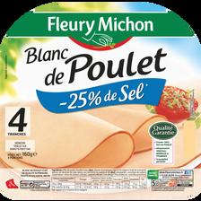 Blanc de poulet -25% de sel FLEURY MICHON, 4 tranches, 160g