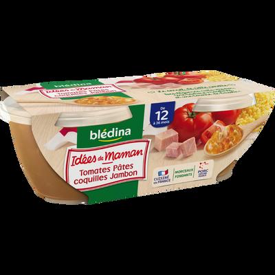 """Bols pour bébé tomates, pâtes coquille, jambon et basilic """"Les Idées de Maman"""" BLEDINA, dès 12 mois, 2x200g"""