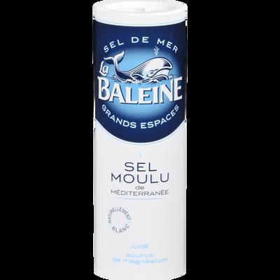 Sel fin de mer iodé LA BALEINE, salière en plastique de 250g