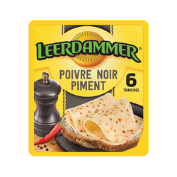 Fromage en tranches LEERDAMMER Poivre & Piment 6 tranches, 120g