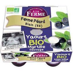 Yaourt sucré Bio myrtille sauvage, INVITATION A LA FERME, pots 4x125G