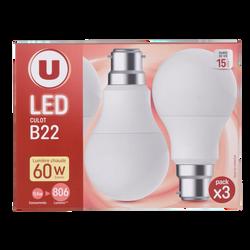 Led U, ronde, 60w, b22, plastique, lumière chaude, 3 unités