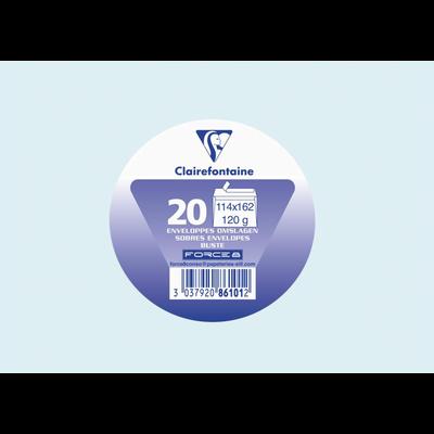 Enveloppes auto adhésives CLAIREFONTAINE, 114x162mm, bleu ciel, papier120g, 20 unités