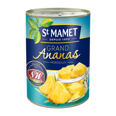 Grand ananas au sirop morceaux ST MAMET, boîte de 345g