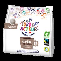 Dosettes café compatible Senseo Caraïbes bio LE TORREF'ACTEUR, 16x112g