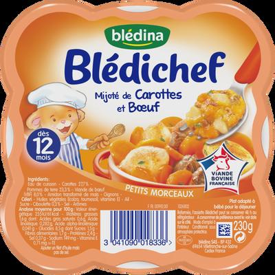 Assiette pour bébé mijoté de carottes et boeuf BLEDICHEF, dès 12 mois,230g