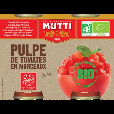 Pulpe de tomate en morceaux bio MUTTI, boîte 2x400g