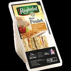 Sandwich Halal maxi poulet et crudités REGHALAL, 200g