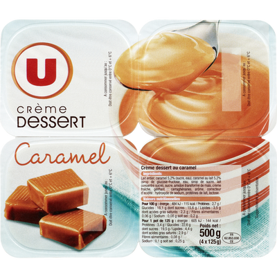 Crème dessert saveur caramel U, 4x125g