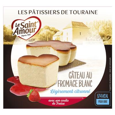 Gâteau léger au fromage blanc et coulis de fruits rouges, ST AMOUR, 3%de MG, 350g