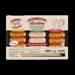 Minis saucisses Franc-Comtoises (comté, nature et paysanne) MORTEAU, 600gr