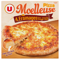 Pizza moelleuse 3 fromages Mozzarella Edam Emmental surgelée U, 600g