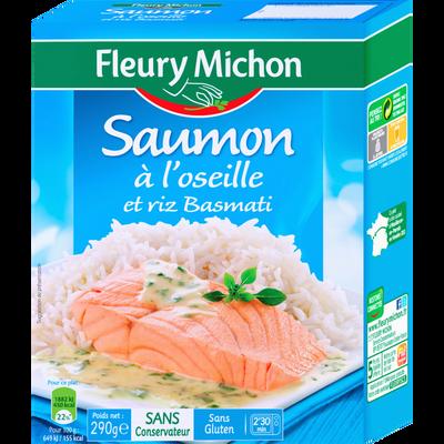 Saumon sauce à l'oseille et riz basmati FLEURY MICHON, 290g