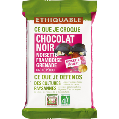 Chocolat noir 85% noisettes entières framboise grenade Pérou bio ETHIQUABLE, 100g