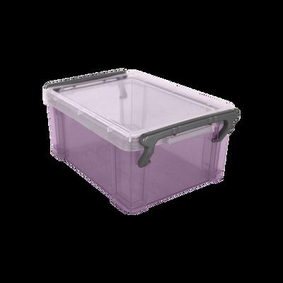 Boite de rangement, en polypropylène, 0,85l, violet translucide, idéale pour ranger les accessoires de bureau