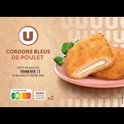 Cordon bleu de poulet, U, France, 2 pièces, barquette, 200g