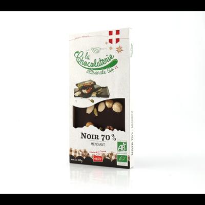 Tablette de chocolat noir 70% mendiant bio LA CHOCOLATERIE ARTISANALE, 100g