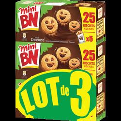 Mini biscuit fourrés goût chocolat BN, 3x525g