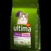 Ultima Croquettes Pour Chats Stérilisés Sensibles À La Truite Et À L'orge Ultima, 1,5kg