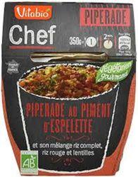 Chef Piperade au piment d'Espelette Riz complet Riz rouge et lentilles bio vitabio 350g 1pers