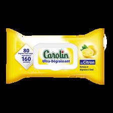 Lingettes multi-usages ultra dégraissant citron, CAROLIN, x80